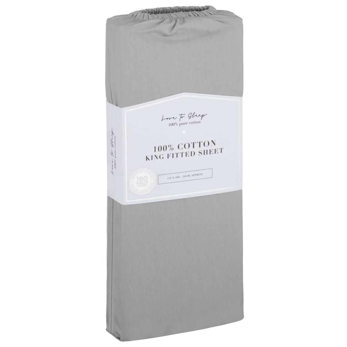 Love to Sleep Cotton King Size Fitted Sheet - Grey