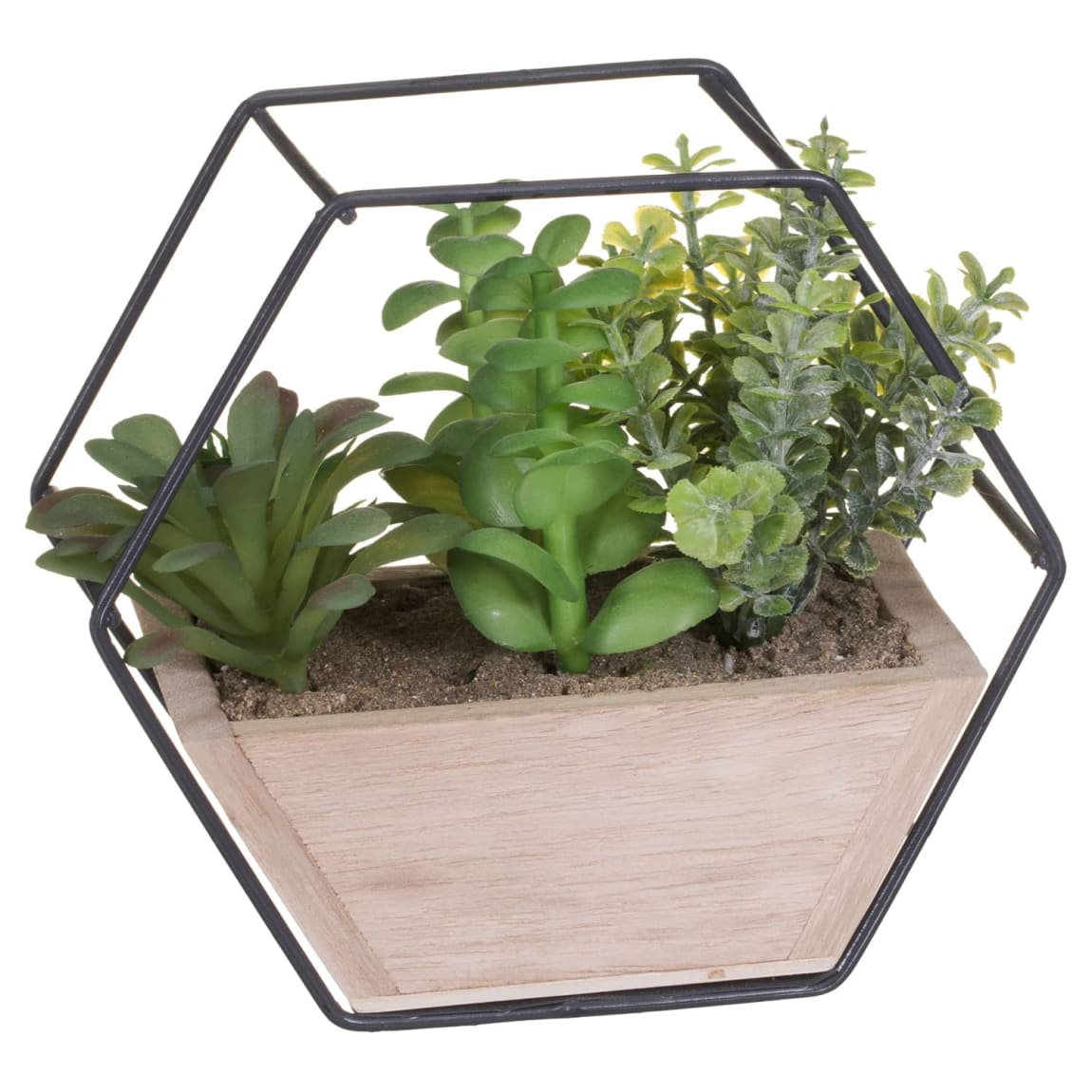 Artificial Foliage in Hexagon Frame