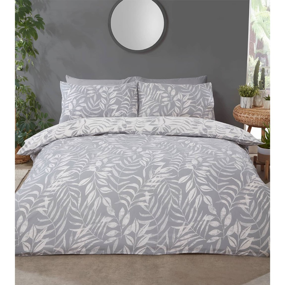 Home & Co Leaf King Duvet Set - Grey