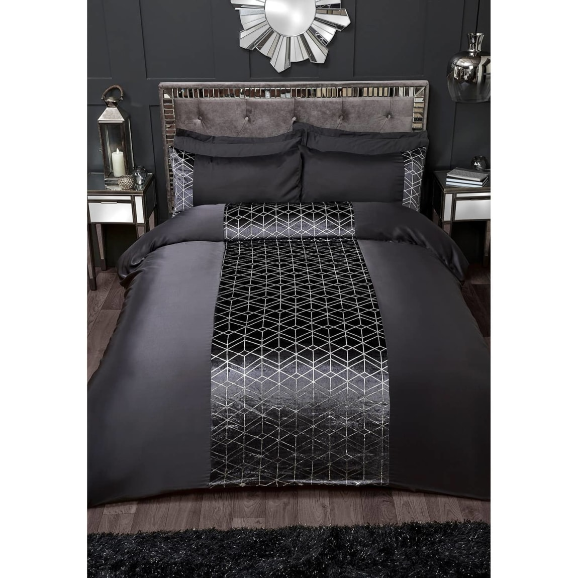 Karina Bailey Lexi Double Duvet Set - Charcoal