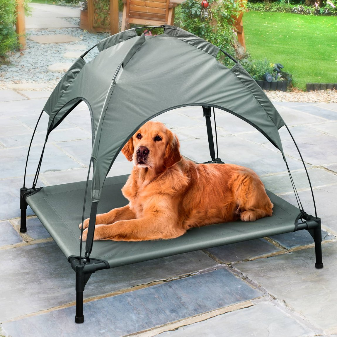 Raised Pet Bed with Canopy - Grey