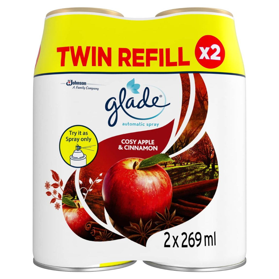 Glade Automatic Spray Refill 2pk - Cosy Apple & Cinnamon