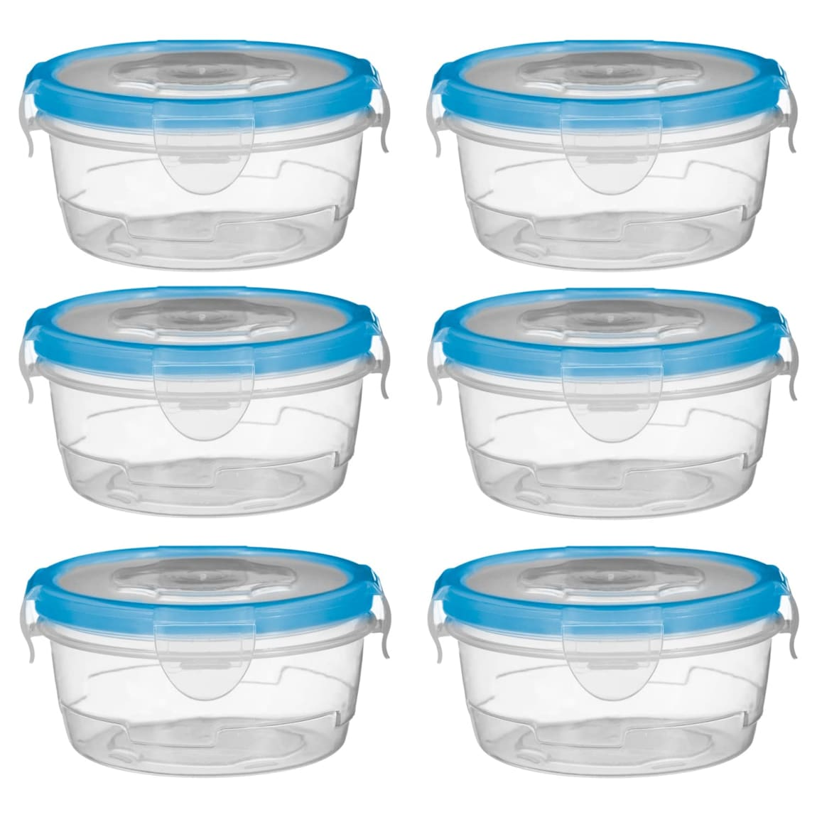 Round Mini Clip Top Containers 6pk - Blue