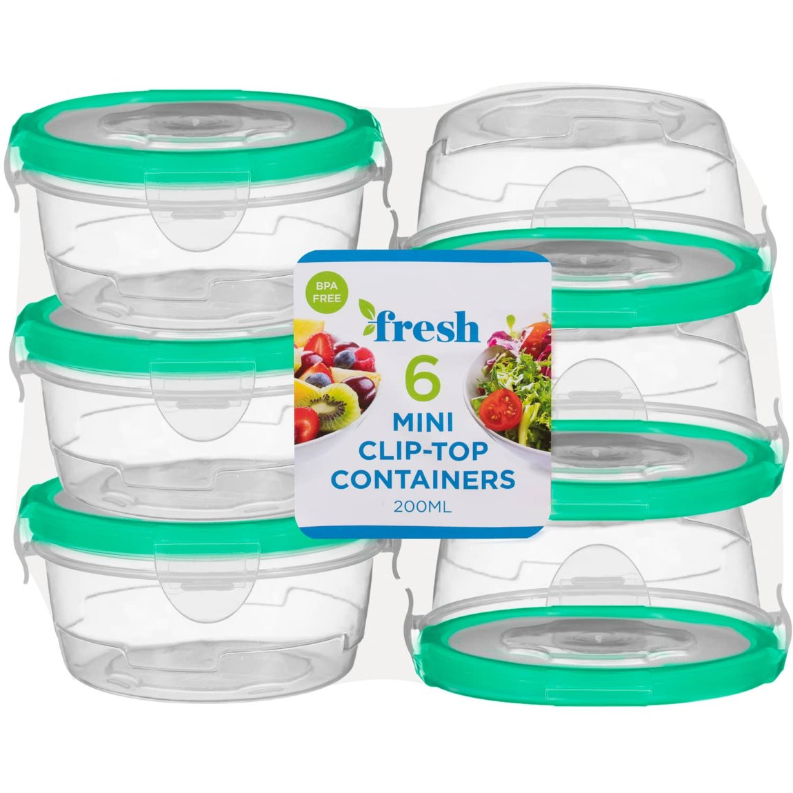 Round Mini Clip Top Containers 6pk - Green