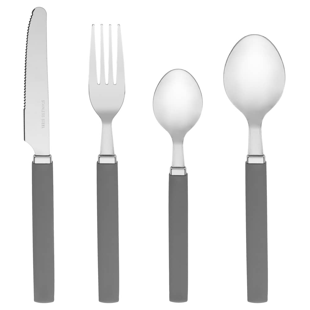 Cutlery Set with Caddy 16pc - Grey
