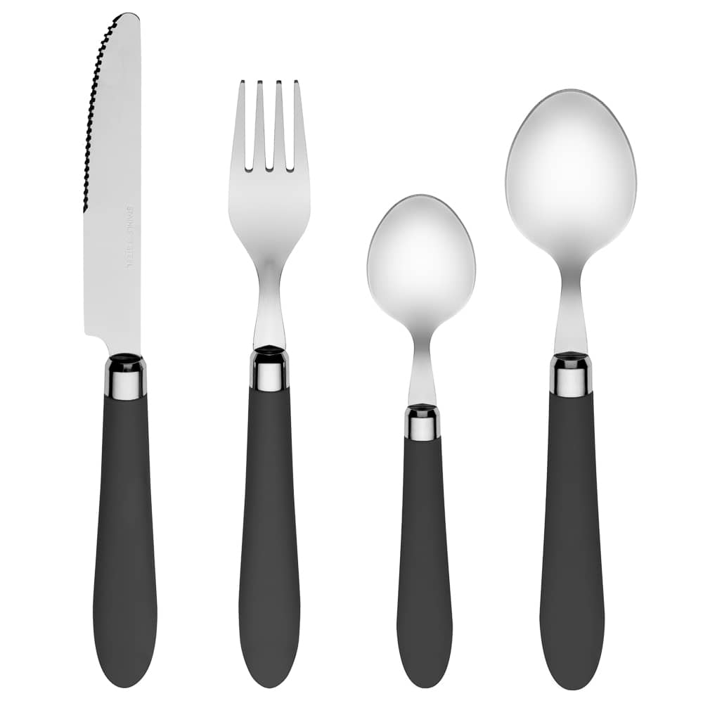Soft Touch Cutlery Set 16pc - Grey