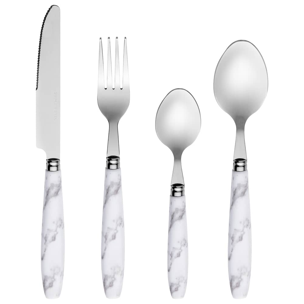 Marble Effect Cutlery Set 16pc