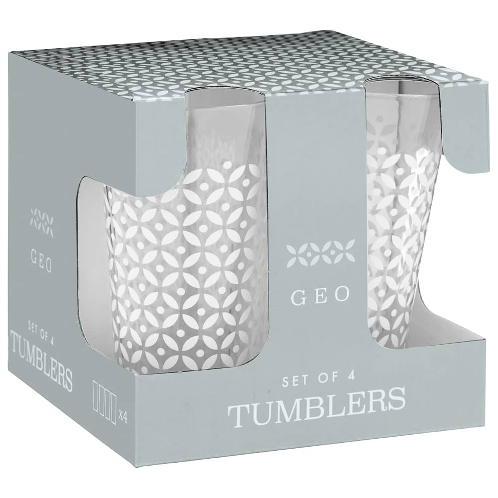 Geo Glass Tumblers 4pk - Grey