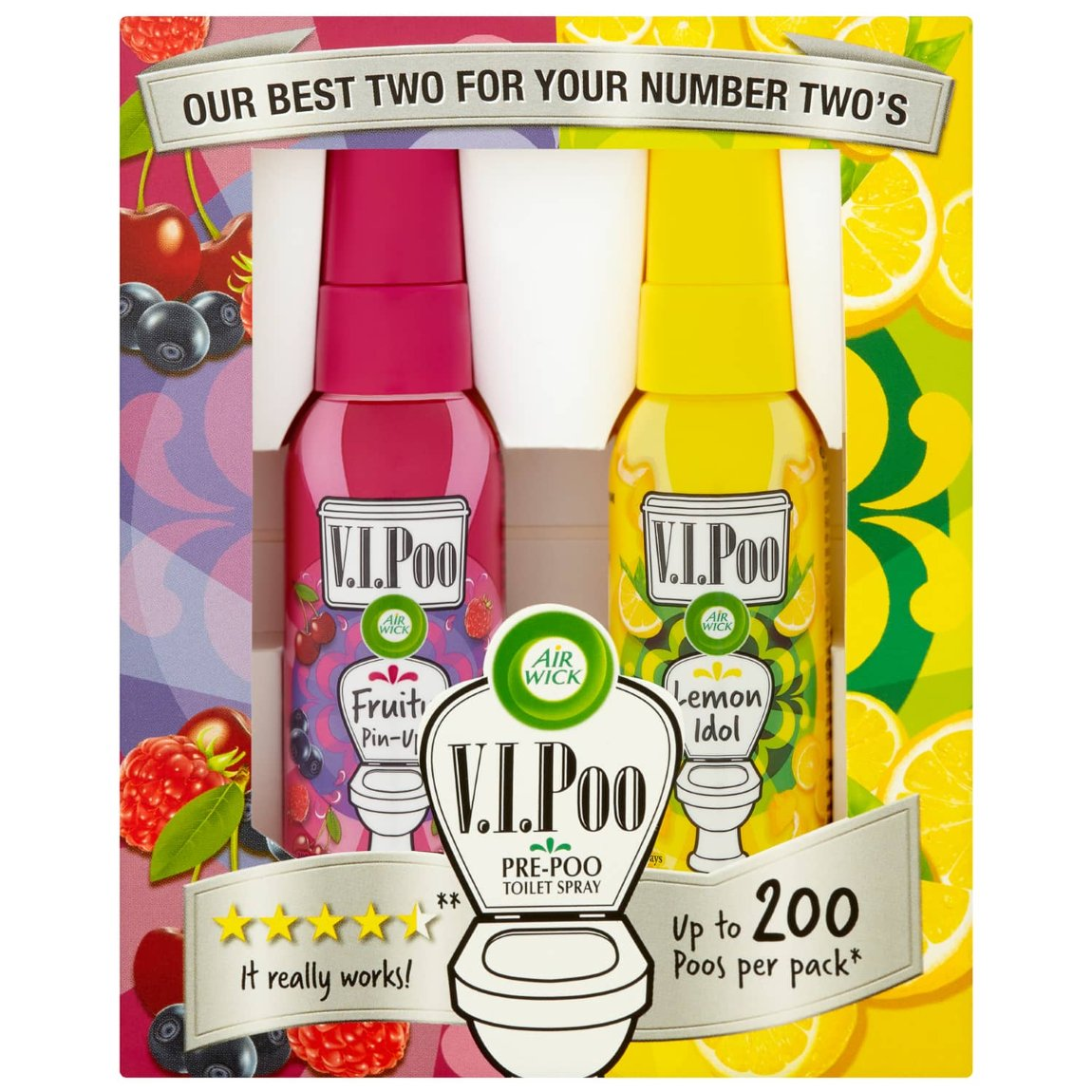 Air Wick VIPoo Toilet Perfume Fruity Pin-Up & Lemon Idol 2pk