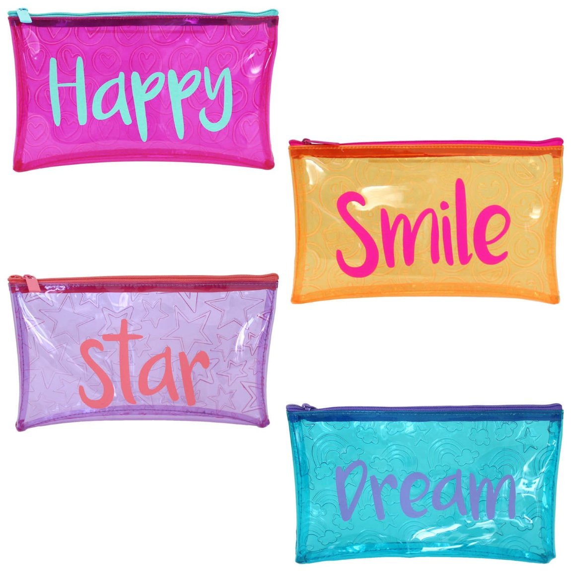 Tinted Embossed PVC Pencil Case - Star