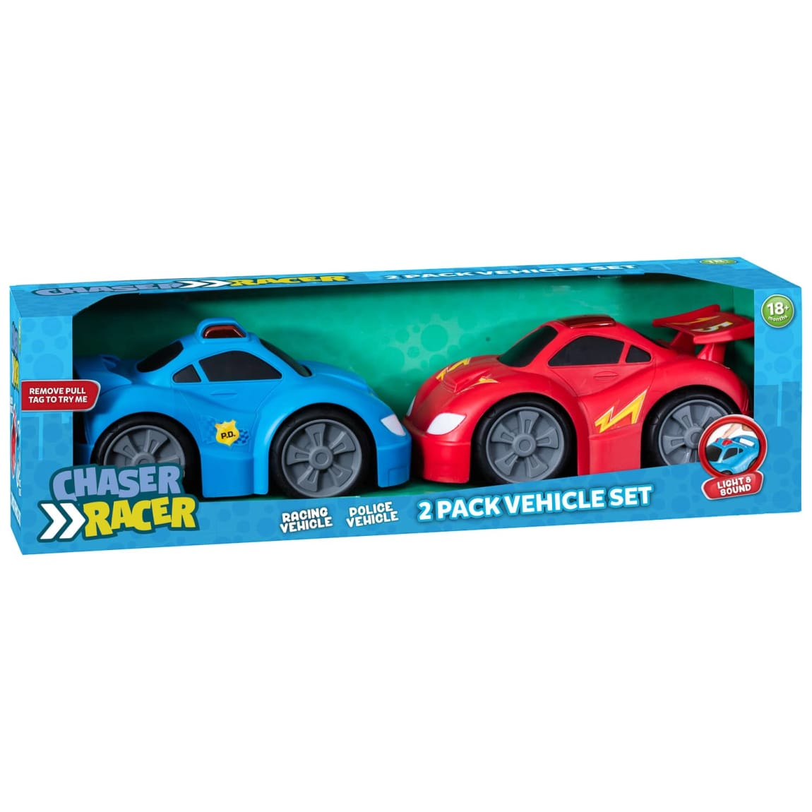 Chaser Racer Light & Sound Vehicle Set 2pk