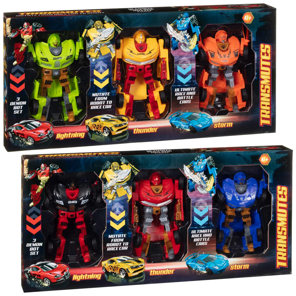 Transmutes Morphing Robots 3pk - Yellow & Orange