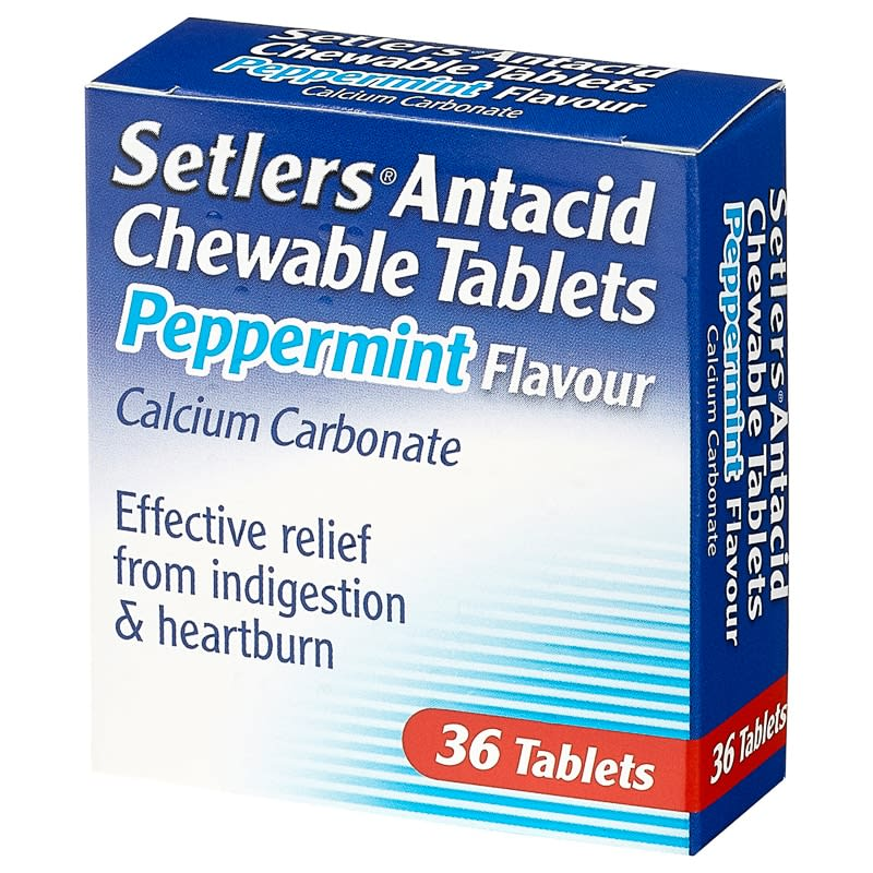 Setlers Antacid Chewable Tablets 36pk - Peppermint