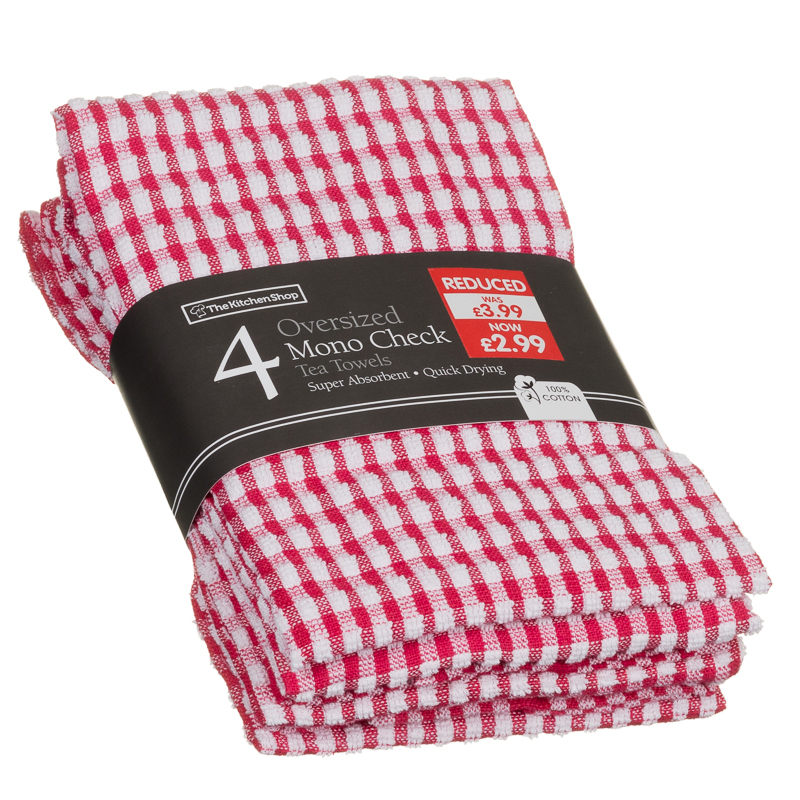 Good 172820 4 Oversized Mono Check Tea Towels Red1