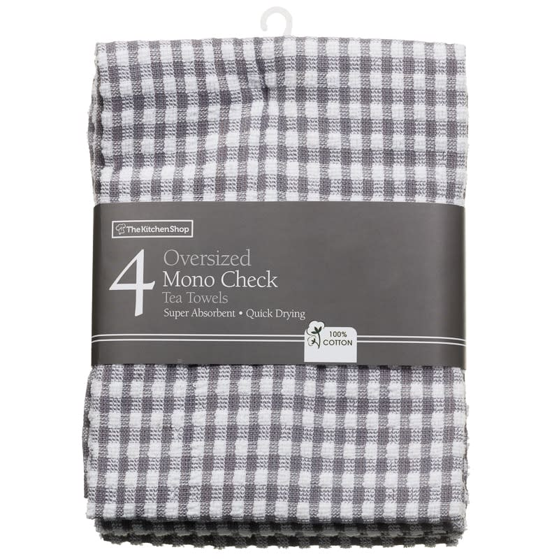 Charmant 172820 Over Sized Mono Check Tea Towels Grey