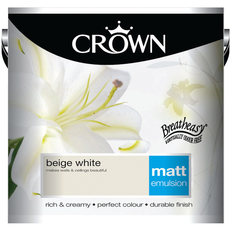 B M Crown 2 5l Beige White Matt Emulsion Paint 208303