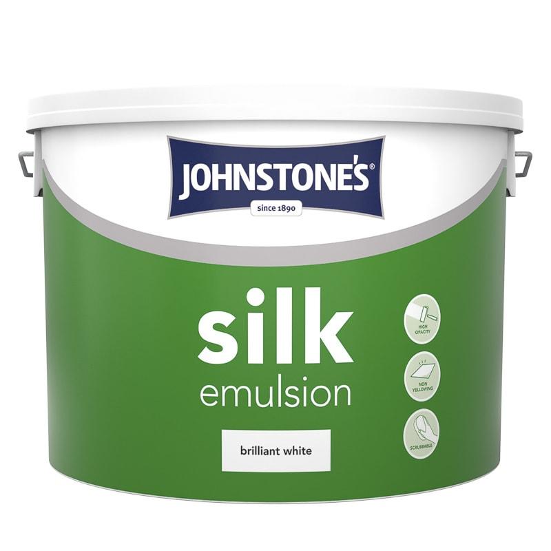 Johnstone S Paint Vinyl Silk Emulsion Brilliant White 10l