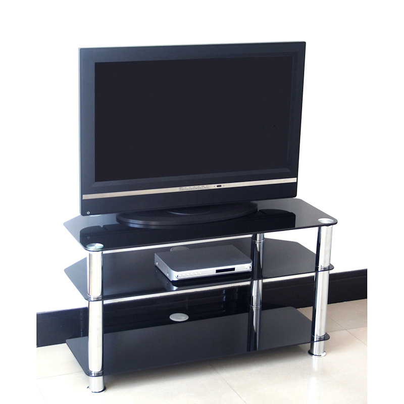 black glass tv stand 75cm television stands tv cabinets. Black Bedroom Furniture Sets. Home Design Ideas