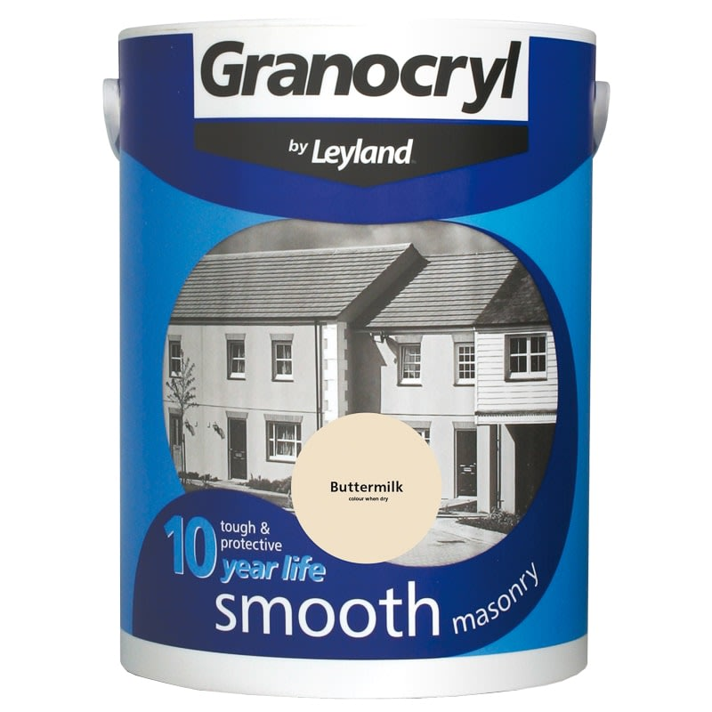 Granocryl smooth masonry paint buttermilk 5l b m - Johnstones exterior masonry paint ...