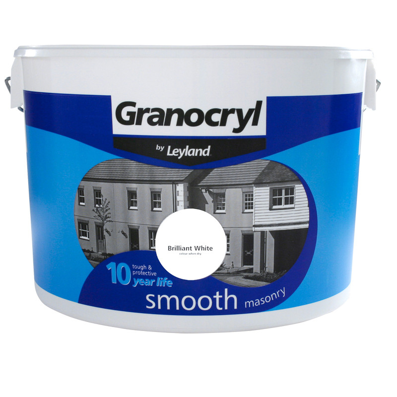 Granocryl smooth masonry paint brilliant white 10l for Happy color spray paint price