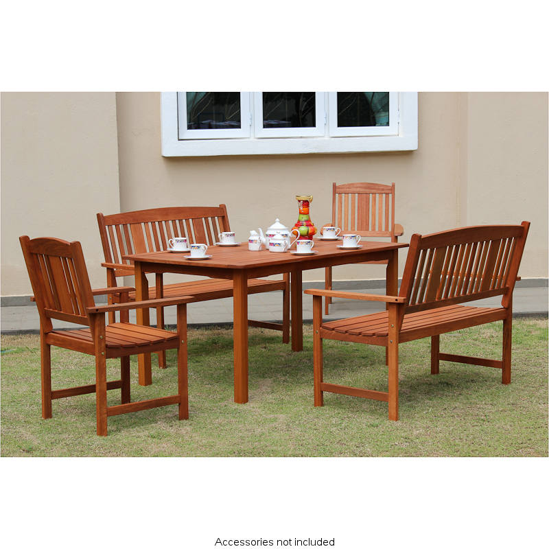 jakarta wooden patio set 5pc garden outdoor furniture
