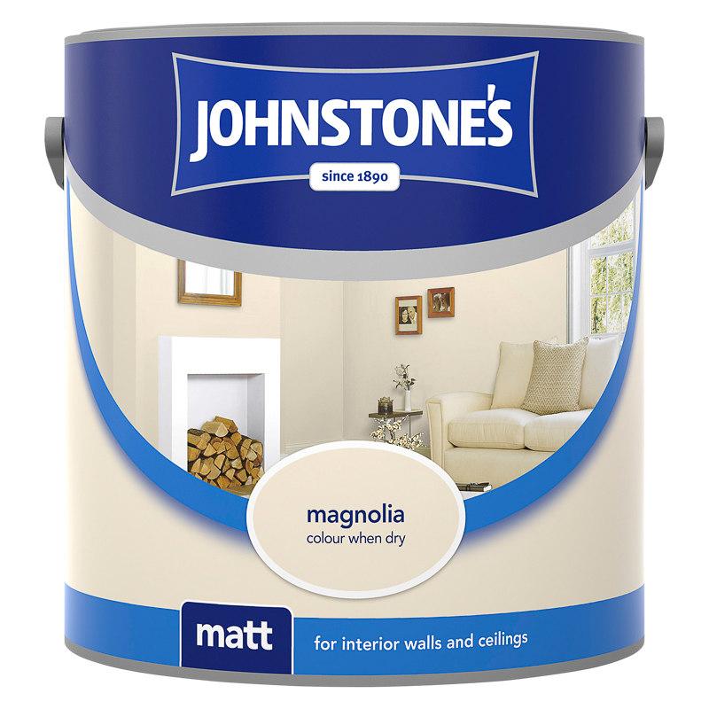 johnstone 39 s vinyl matt emulsion magnolia 2 5l wall paint. Black Bedroom Furniture Sets. Home Design Ideas