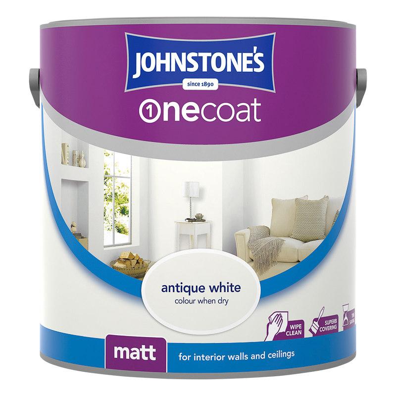 Johnstone 39 s paint one coat matt emulsion antique white 2 for One coat white paint