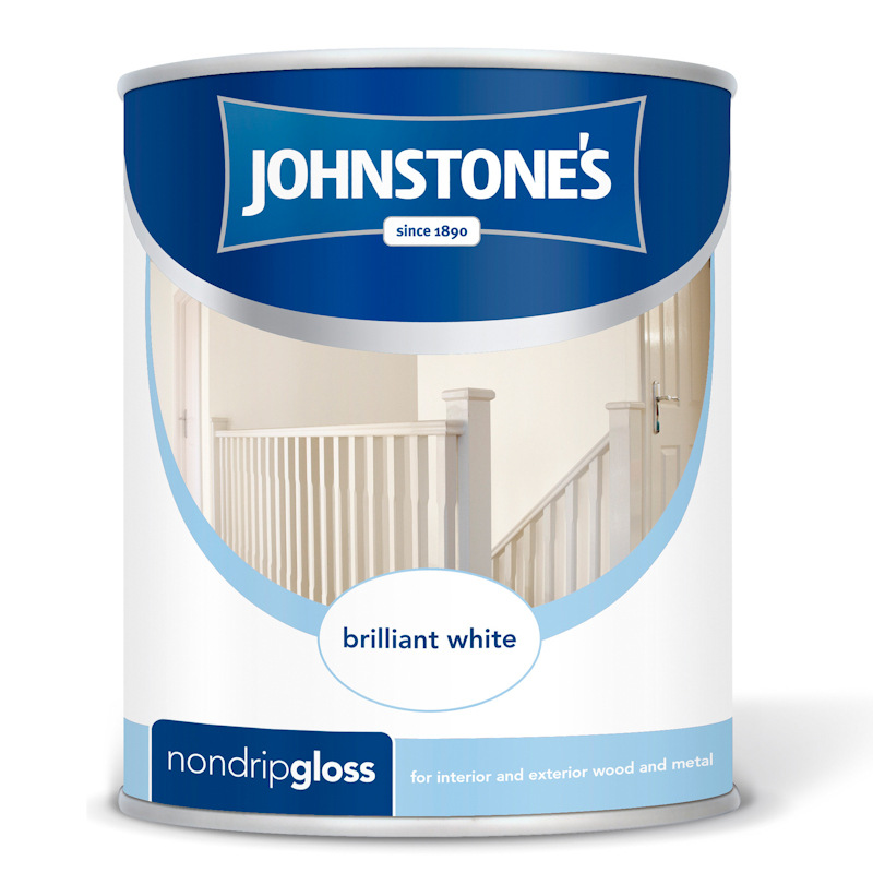B m johnstone 39 s brilliant white non drip gloss 750ml paint 237199 - Johnstones exterior paint set ...