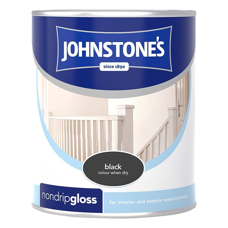 Johnstone's Non Drip Gloss Paint - Black 750ml | Decorating