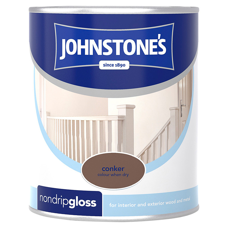 Johnstone S Non Drip Gloss Paint Conker 750ml Decorating