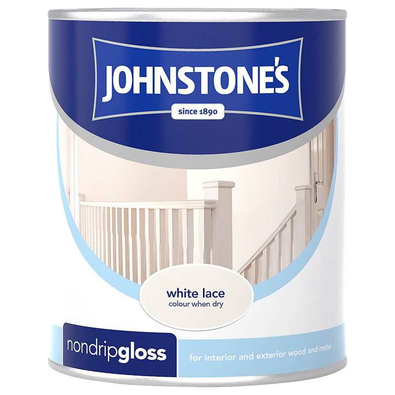 Johnstone's Non Drip Gloss Paint - White Lace 750ml