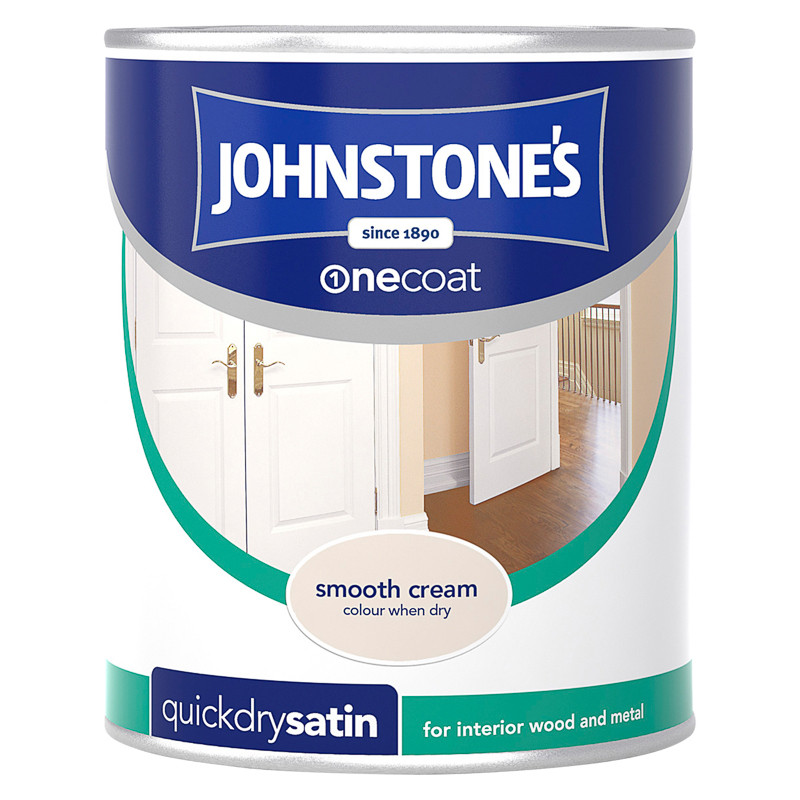 Johnstone S One Coat Satinwood Paint Smooth Cream 750ml
