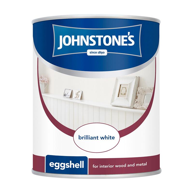 Johnstones Eggshell Paint Brilliant White 750ml DIY