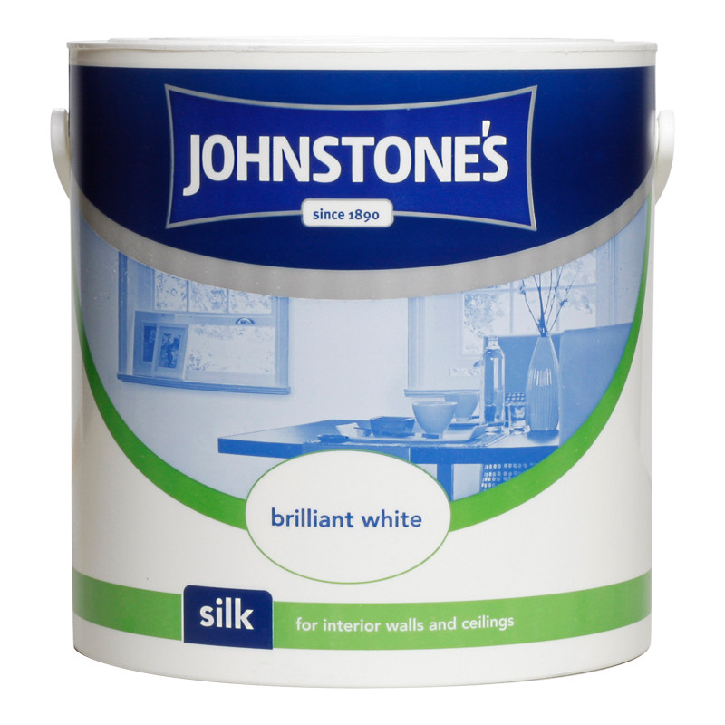 Johnstone S Paint Vinyl Silk Emulsion Brilliant White 2 5l