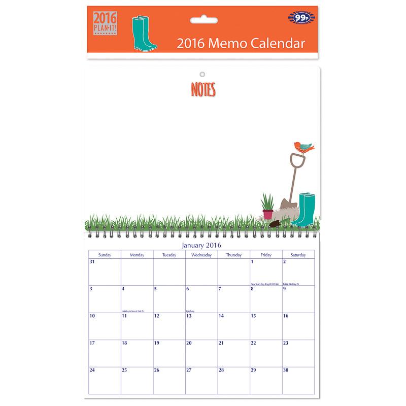 B m 2016 memo calendar garden calendar planner for Gardening 2016 calendar