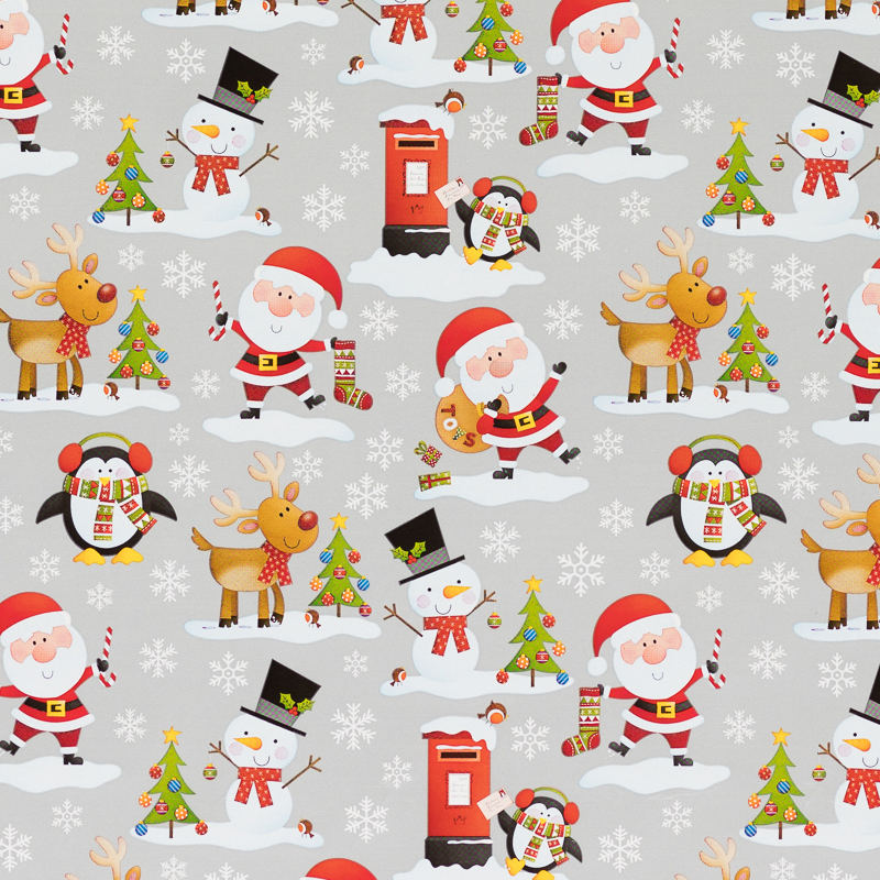 B m cute christmas wrapping paper silver santa 12m for Cute paper designs