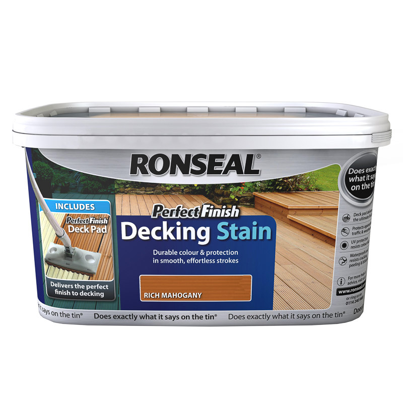 249310 Ronseal Perfect Finish Decking Stain Rich Mahogany. Ronseal Perfect Finish Decking Stain   Mahogany 2 5L  Paint