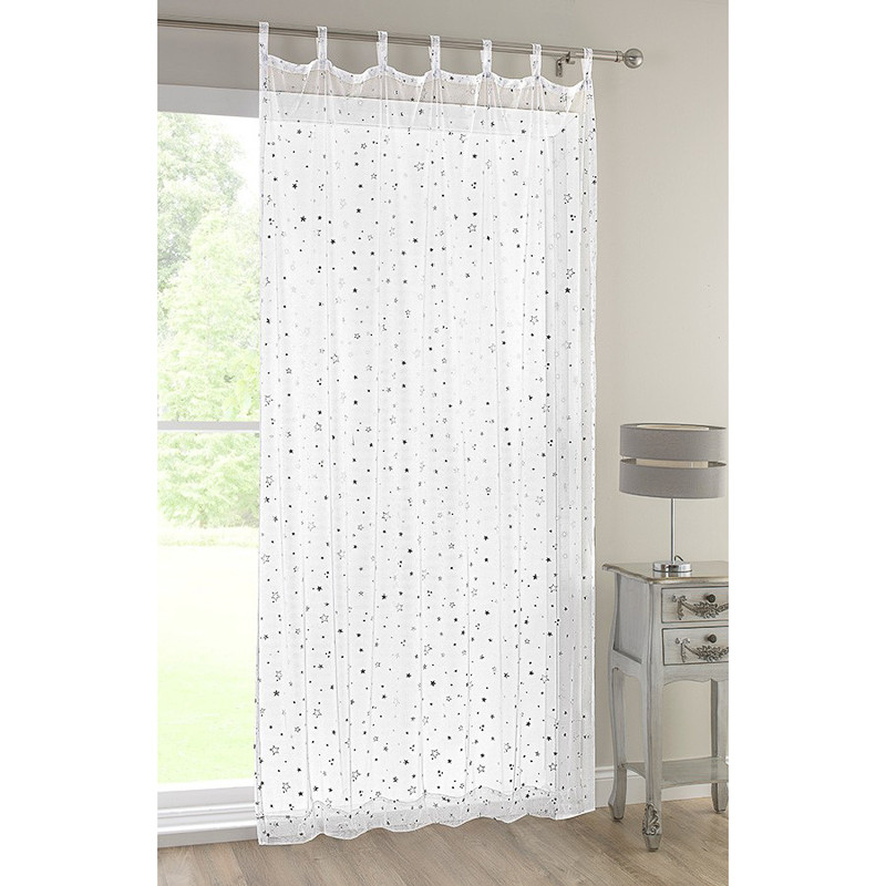 popsicle tab top voile curtain white with stars. Black Bedroom Furniture Sets. Home Design Ideas