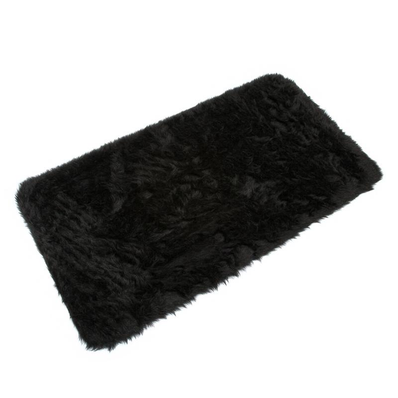 b m fluffy rug 70 x 130cm black 2530592. Black Bedroom Furniture Sets. Home Design Ideas