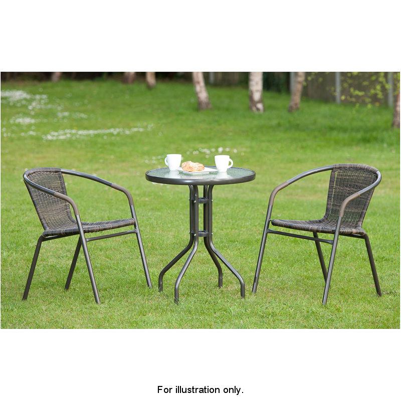 Bistro Set venice rattan effect bistro set 3pc garden furniture