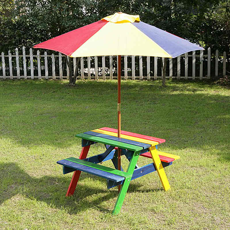 331238 Kids Picnic Table With Parasol