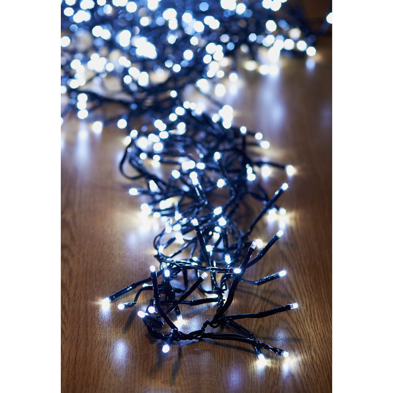 B m 480 led cluster christmas lights white for B m christmas decorations