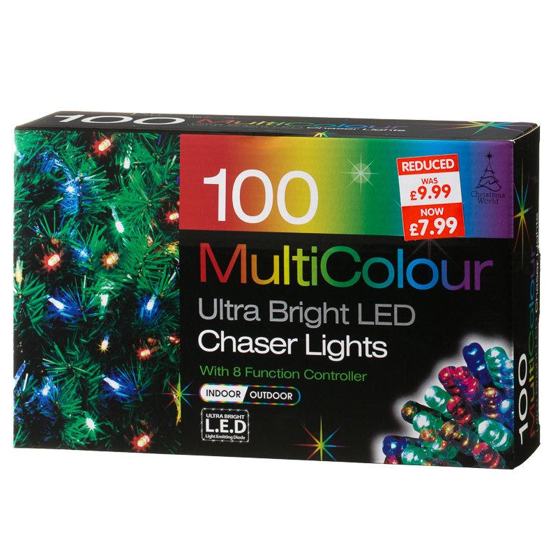 B M 100 Bulb Multicolour Led Chaser Christmas Lights 257569
