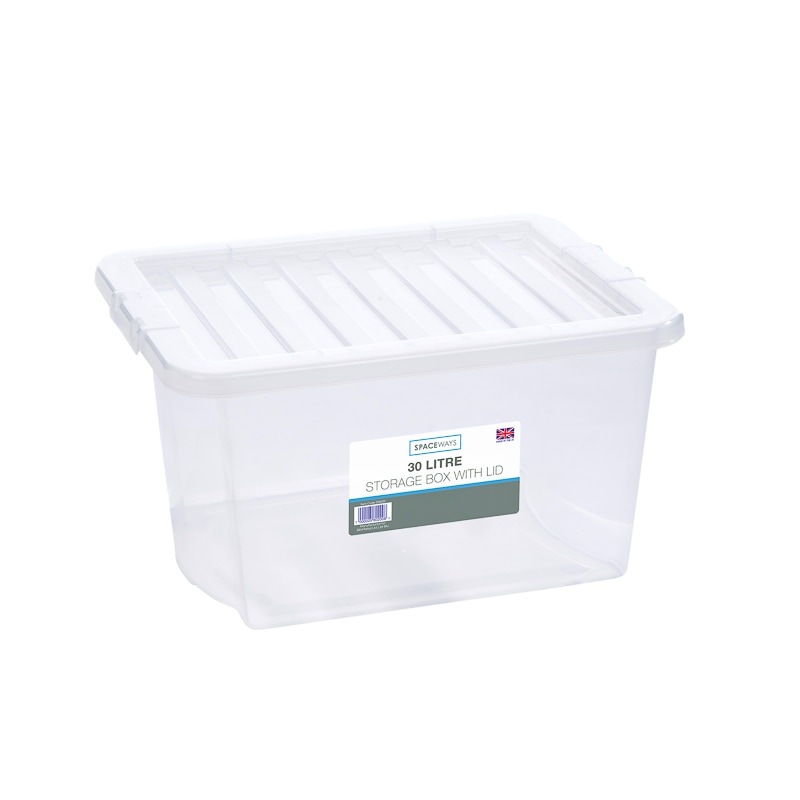 Clear Storage Box With Lid 30l Storage Boxes B Amp M