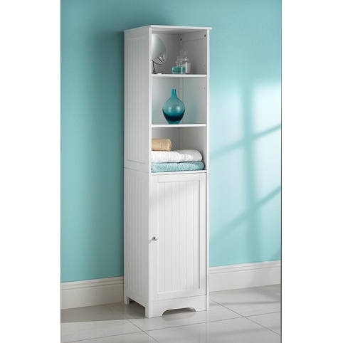 new style bathroom unit clean lines and a crisp white ForBathroom Cabinets Tall Boy