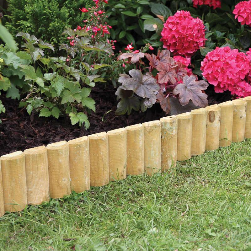 Fixed log roll edging border edging garden maintenance for Log garden edging