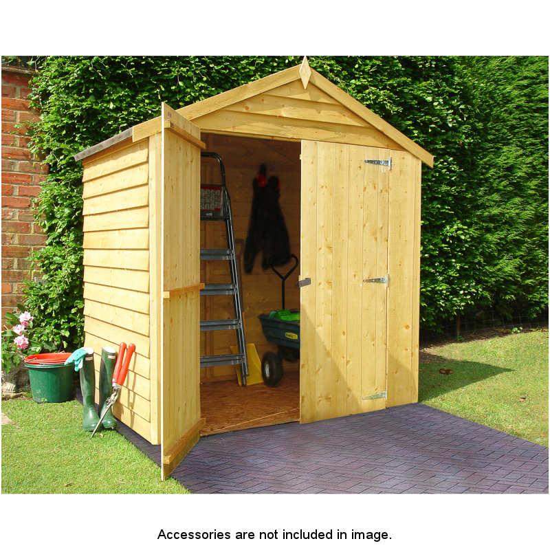 4 x 6 Double Door Overlap Apex Roof Shed - 265477 | B&M