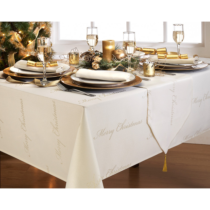 cream &    Cream   Runner Merry Christmas  Tableware runner Table Gold table  Text