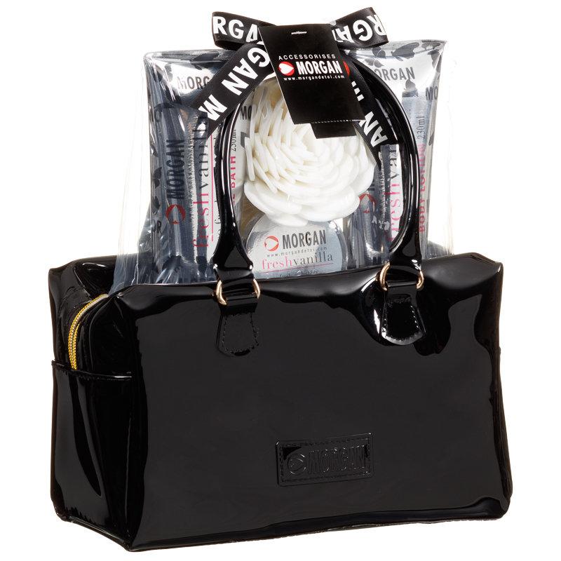 Bathroom Set In A Bag: Morgan Patent Bowler Bag Bath Set - Black