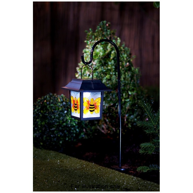 B&M Stained Glass Hanging Lantern With Solar Light